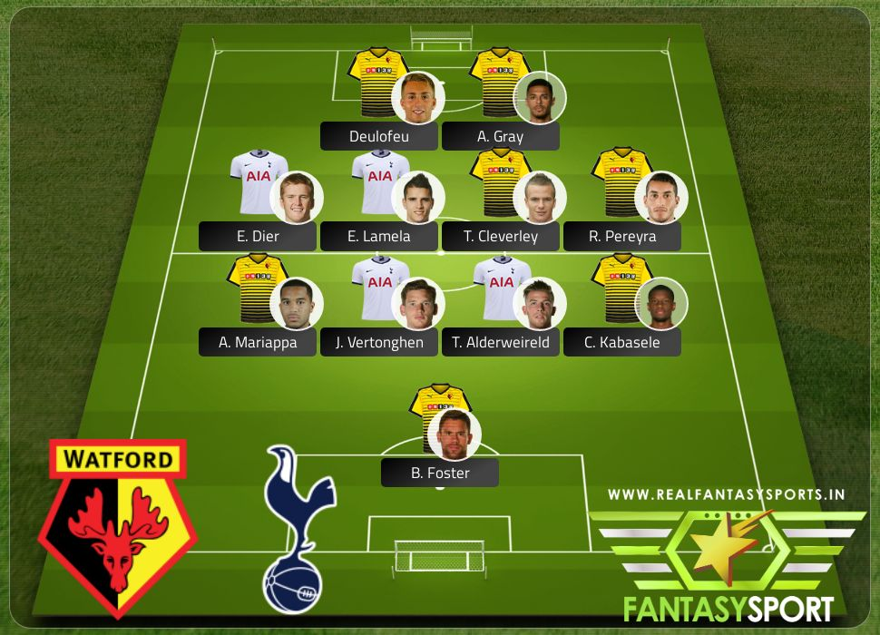 Watford vs Tottenham Hotspur with Dream team originally selected by VirochanQJ9 Deulofeu